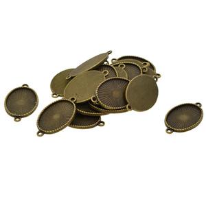 20 Stück Oval Blank Miniatur-Cabochon Tray Unter Lünette Rahmen Doppelschleifen-Charme-Anhänger-Armband-Verbindungsstück-Entdeckungen