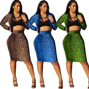 Горячие сексуальные леопардовые юбки с длинными рукавами с круглым вырезом с коротким пиджаком + длиной до колен облегающая юбка ночной клуб бальные платья костюмы реальные изображения