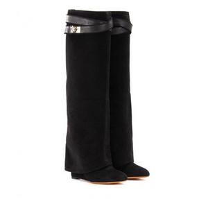Klassische Suede Womens Long Boots Silber Shark Sperre Kniehohe Stiefel Größe Spitzschuh Pumpen Motorrad Booties hochhackiger Schuh L11