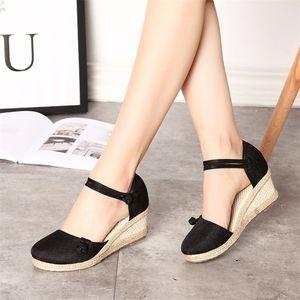 2020 Vintage Femmes Sandales Casual Toile en Lin Wedge Sandales d'été avec boucle cheville Med talon plate-forme Pompe Espadrilles Chaussures
