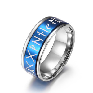 2021 Punk Rotating Norse Viking Letter Rune Men's Rings Fashion Stainless Steel Luminous Ring Jewelry