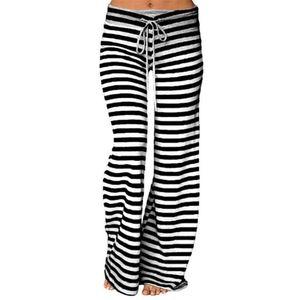 Haute qualité Sports d'été Yoga Pantalons Femmes Striped haute taille élastique loose Pantalon large Pantalon de yoga de danse