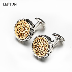 Hot Sale Vintage Cufflinks For Mens with Gift Box Gold Silver Lepton Baroque Whale Back Closure Cuff links for Wedding Business SH190925