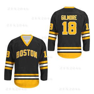 Custom 1996 Happy Gilmore jersey # 18 Адам Сэндлер Бостон Брюинз Фильм Аутентичные хоккейные майки Черный Белый Любое имя Сшитые логотипы