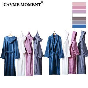 CAVME 2019 Hotels Bademantel Cotton Terry Kimono für Frauen Männer lange Robe Plus Size Nachtwäsche Kragen Hoodies Nightgown Massiv Robes