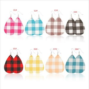 Fashion Woman Plaid Earring PU Leather Teardrop Earrings Water Drop Grid Woman Jewelry Christmas Party Gift