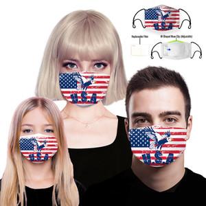 5 couche filtre Replaceable Designer Masque, réutilisable protection coton enfants visage Masque lavable Mode poussière chiffon à usage unique Masque Visage