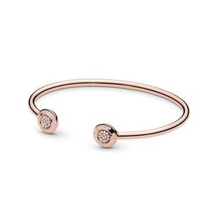 Bracciale rigido originale aperto in oro rosa Bracciale rigido originale Pandora in argento sterling 925 per le donne