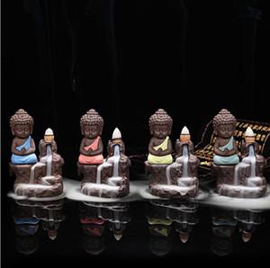 Criativo Buddha Backflow Censer Handmade Cerâmica Lótus BackFlow Budista Budista Backflow Backflow Incense Burner Burner Censador de fragrância