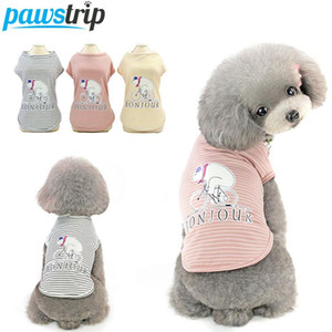 Pawstrip Summer Dog Clothes Small Puppy Shirt Cartoon Bear Pet Dog Vest Chihuahua Pomeranian TShirt Clothing for Dogs S-2XL