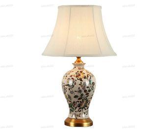 Klassische Keramik-LED-Dimmer Tischleuchte europäische chinesische Porzellan-Schreibtischlampe für Hochzeit Foyer Studie Nacht H 53cm New LLFA