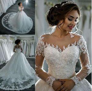 Vintage dentelle bal robe de mariage 2019 Robe de mariée balayage train manches longues Robes de mariée à la main Robe à Weddings