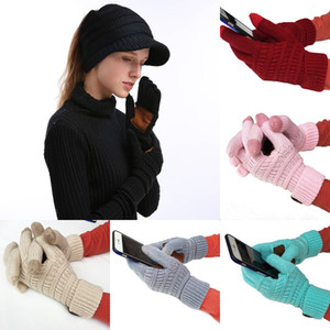 Lana Guanti di maglia 16 colori Lettera Touch Screen Gloves inverno lavorato a maglia di stirata di modo caldo Full Finger Mittens favore di partito LJJO7346