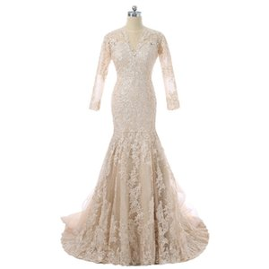 2018 vintage champagne lace mermaid wedding dresses long sleeves v neck sweep train bridal dress ruffles train plus size wedding gowns