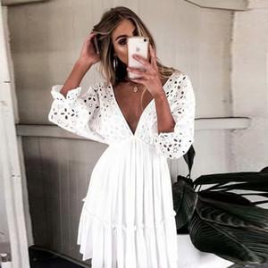Frauen Sommerkleid Boho Hohe Taille Böhmische Kleider Spitze Volant V-ausschnitt Halter Strap party Mini Kleid für frauen chiffon vestidos