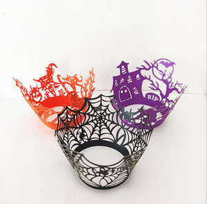 2019 Хэллоуин Декор кекс паук тыква Замок Hollow торт Кубок бумаги торт плесень по краям сторон