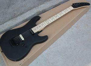 Фабрика прямой продажи матовая черная электрическая гитара с Флойдом Роуз, кленник, 24 лада, можно настроить