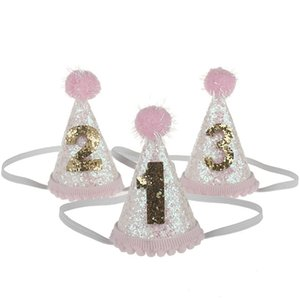 1pcs Baby Cute 1 2 3 Birthday Hats Dot With Hairball Cap Baby Shower Birthday Photo Props Children Decor