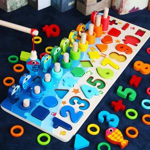 Dijital Shape Match Erken Eğitim bina bloğu Oyuncak Eşleştirme Montessori Eğitim Ahşap çocuk Kurul Matematik Balıkçılık Sayısı Numaraları