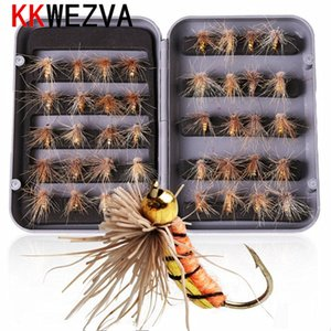 wholesale 40pcs lot Trout Nymph Insect Fishing fly Lure Fishing Tackle Colors Fly Fishing Flies with Box Carp Artificial Fish Bait