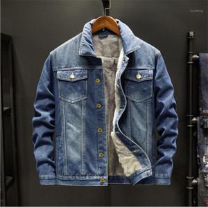 Jeans Casacos manga comprida Fique Collar Mens Solid Color Jackets Plus Size Machos Casual Quente Casacos Mens Inverno