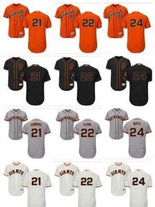 Homens personalizados Mulheres Juventude SF Gigantes Jersey # 21 Deion Sanders 22 Will Clark 24 Willie Laranja Laranja Cinza Branco Crianças Meninas Baseball Camisas