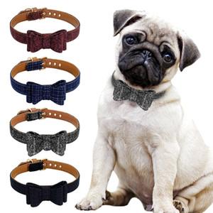 Ajustable collar del Bowknot de los Mascotas lindo gatito del perrito de la tela escocesa del collar Collares Para Pequeña Mediana Gatos Perros Chihuahua amasado S M L