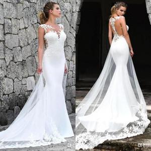 Strand Spitze Böhmische Meerjungfrau Hochzeitskleid Tüll Illusion Durchsichtig Ärmellos Sexy Backless Brautkleider Vestidos de Novia 2020 BM1529