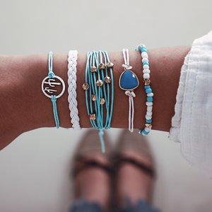 Boho Bracelets Women Charm Beads Bracelet Settings Gemstones Friendship Ankle Bracelet Set Vintage Handmade Jewelry Set for Outdoor Travel