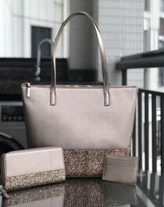 Фирменный дизайнер крупный блеск кошелек набор Лоскутное блестящее плечо Crossbody хозяйственные сумки пу женщин сумка сумки