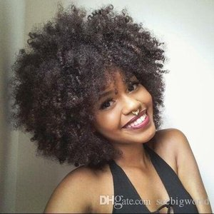 BUY new style kinky curly wigs African Ameri Brazilian Hair simulation human hair afro soft curly wig in stock