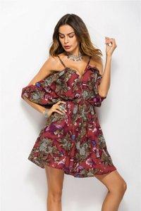 Summer Sexy Style Женщина Платье Ruffles украшение Сыпучего Силуэт рукава печать Pattern Type V-образный вырез Воротник