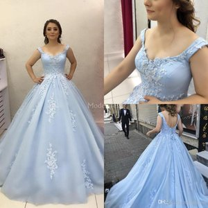 Zarif 2019 Quinceanera Elbiseler Aplikler Backless Sweep Tren Abiye Örgün Parti Akşam elbise Artı Boyutu Modern Özel Durum Elbise