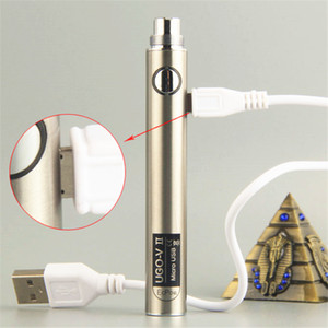 Original UGO-V 2 II battery Electronic Cigarette micro USB passthrough Bottom & Top Charge Evod Passthrough Fit eGo 510 Thread Atomizer