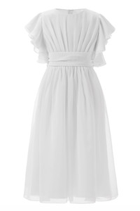White Chiffon Flower Girls Dresses Ruffles Sleeves First Communion Dresses with sashes Custom Made Holy Communion Dresses 2019