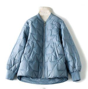 Female Baseball Down Outerwear Women Winter Parkas Long Sleeve Loose Crew Neck Fashion Ladies Coats Casual