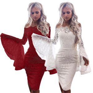 Wine Red Мода Flare рукавом Streetwear Off-плечи Сексуальные кружевные платья Bodycon Мини-платье вскользь платья для женщин