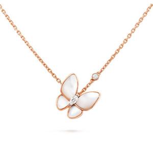 Gioielli Collane Due collana del diamante della farfalla dell'argento sterlina 925 collane per le donne con la scatola