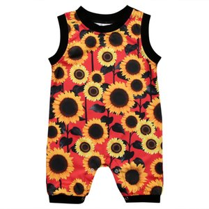 2021 Baby boys girls kids rompers sleeveless sunflower 100% cotton Romper Newborn infant ruffle wither fashion Boutique clothes B22
