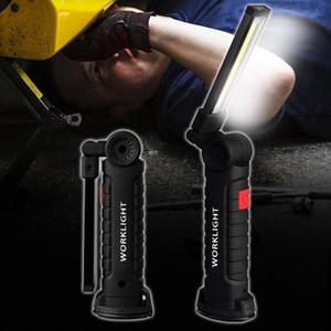 Siyah Big katlanır USB şarj cihazı 180 derece dönebilen portatif COB LED çalışma ışığı mıknatıs kanca