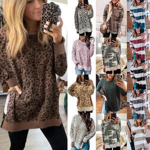 las mujeres s camisetas de diseño de lujo de otoño invierno de la mujer con capucha estampado de camuflaje leopardo raya Tops camisetas del diseñador de las mujeres 14 colores