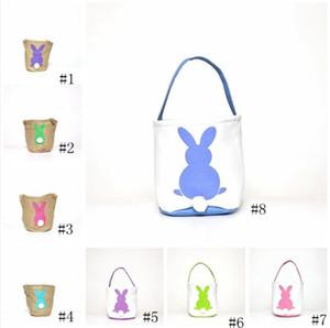 Easter Basket coniglio stampato Easter Bunny regalo Borse Bunny Tail Borse Totalizzatore tela di lino Baskets bucket di archiviazione del fumetto GGA3192-2