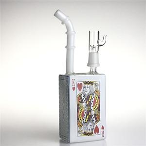 Новый 7.5 Дюймов Сердце K Стеклянная Коробка Сока Нефтяные Установки Бонг с 14 мм Мужской Толстый Pyrex Красочные Пьянящие Стаканчики Bongs Водопроводные трубы