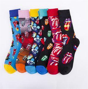 Nuova creatività cotone pettinato moda uomo calzini Happy Sport confortevole calzini lingua jacquard Pazzo