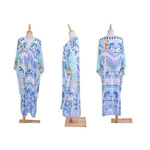 Womens Chiffon Maxi Floor Length Open Front Kimono Cardigan Top Boho Geometric Floral Irregular Digital Printing Bikini Cover Up