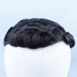 Hombres Toupee Pelucas Naturales Blanqueado Nudo Troupee Real Hair Pelucas Masculinas Pelucas Para Hombre Pelo Toupee Encaje Y PU