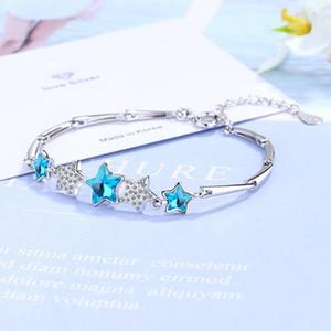 925 فضة الحلم الأزرق كريستال الخماسي ربط سلسلة سوار سحر سوار زركون للحصول على هدايا الزفاف