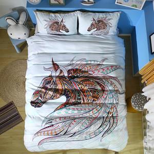 Set di biancheria da letto per cavallo in 3D Set di copriletto in cotone Copriletto per gli Stati Uniti del Regno Unito King Size Twin for Kids Hand Drawn Patterned Horse