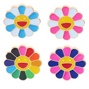 4шт Семь цветы ВС Fower Smiley Face брошь Эмаль Pin Denim пальто Рюкзак отворот кнопка Pins знак для девочек Подарков ювелирных изделий