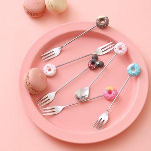 Creativo Cartoon in acciaio inox Donut Spoon Donut cucchiai Fork Coffee Fruit Tea Ice Cream Candy stoviglie da cucina